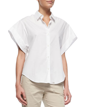 Light Poplin Wide Short-Sleeve Shirt & Summer Twill Jitney Cropped Pants