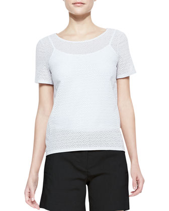 Micro-Eyelet Short-Sleeve Top