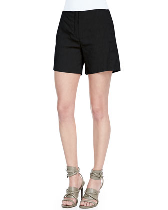 Micro-Eyelet Short-Sleeve Top & Crunch Mid-Thigh Linen-Blend Shorts