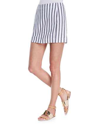 Sag Harbour Oversize Lightweight Sweater & Chonos Striped Casual Skirt
