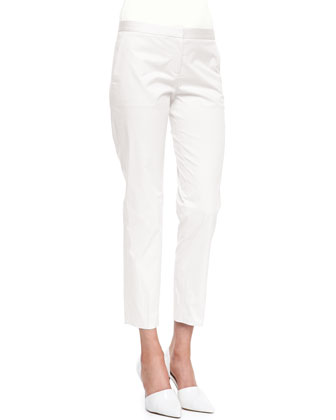 Cotton Pintuck Button Blouse & Summer Twill Cropped Pants