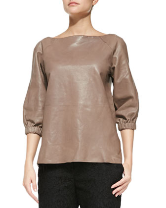 leather blouson popover top