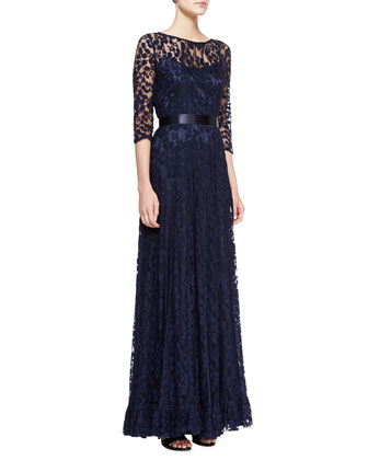 3/4-Sleeve Lace Overlay Gown, Navy