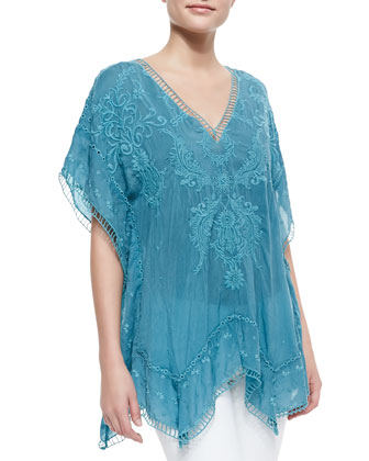 Damask Embroidered Poncho, Women's