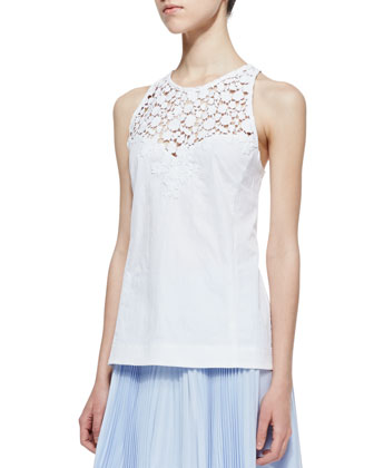 Terrace Crochet-Inset Sleeveless Top & Sunny Day Pleated Chiffon Skirt