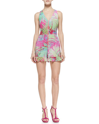 Palm Paradise Printed-Silk Short Jumpsuit