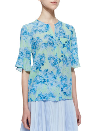 Cove Sassy Floral-Print Top & Sunny Day Pleated Chiffon Skirt