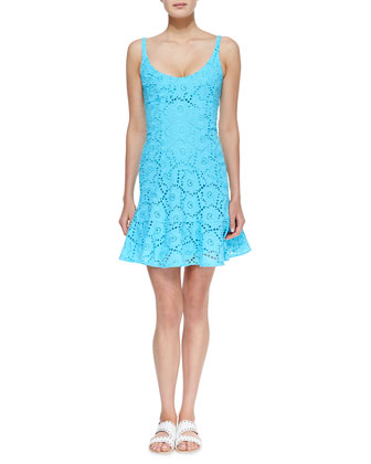 Summer Eyelet Ruffle-Hem Dress