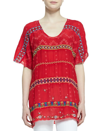 Colorful Daisy Eyelet Blouse, Fiery Red, Women's
