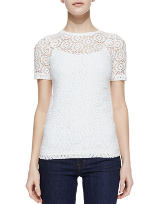 The Eyes Have It Eyelet Jacket & Short-Sleeve Lace Tee
