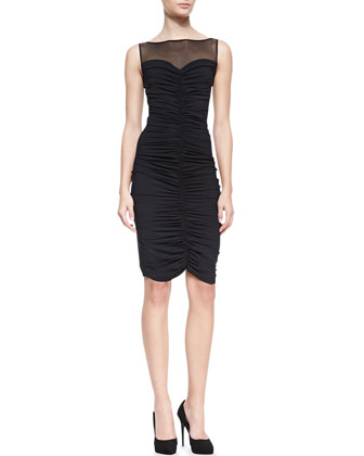 Sleeveless Mesh-Top Ruched Cocktail Dress, Nero