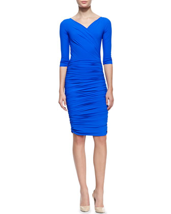 3/4-Sleeve Ruched V-Neck Cocktail Dress, 938