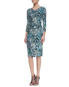 3/4-Sleeve Snake-Print Dress