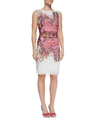 Sleeveless Ruched Floral Sheath Dress