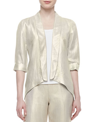 Metallic Half-Sleeve Jacket, Scoop-Neck Tank & Metallic Cropped Pants