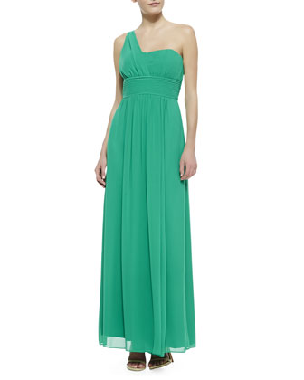 One-Shoulder Gown, Aloe Vera