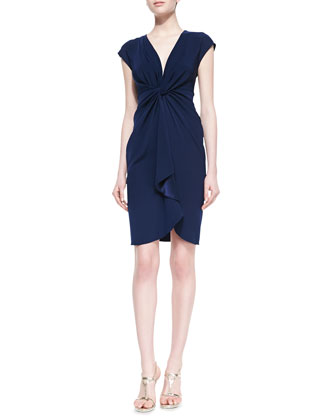 Cap-Sleeve Cascading Ruffle-Front Cocktail Dress