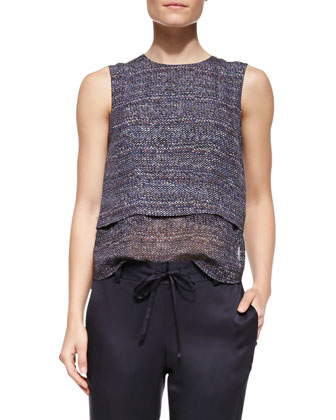 Multi Tweed-Print Hodal C Silk Top