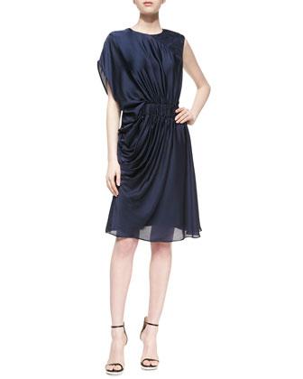 Lanza Short Draped-Shoulder Dress, Navy
