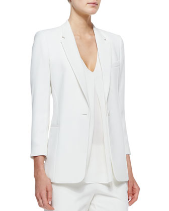 Lousine Kuril Single-Button Blazer, Trent V-Neck Georgette Blouse & Kleon B ...