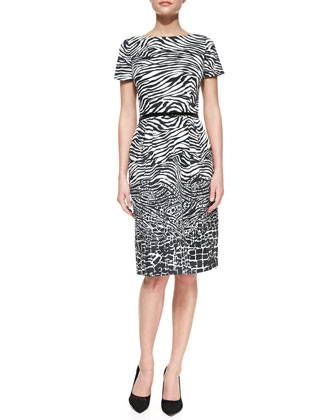 Short-Sleeve Animal-Pattern Belted Sheath Dress