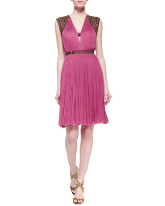 Monica Pleated Beaded-Sleeve Dress, Sangria