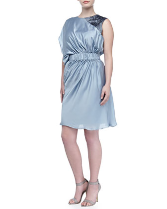 Lanza Short Draped-Shoulder Dress, Sky Blue/Black