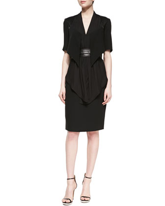 Mia Silk Layered Dress, Black