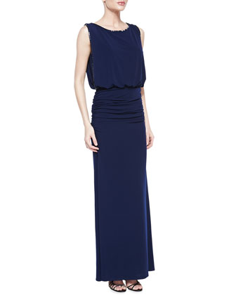 Sleeveless Beaded Blouson Gown, Midnight Blue