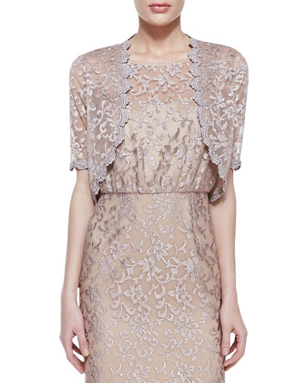 Sheer Lace Shrug & Lace Sleeveless Tank Gown
