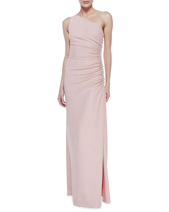 One-Shoulder Ruched Side Gown, Shimmering Blush