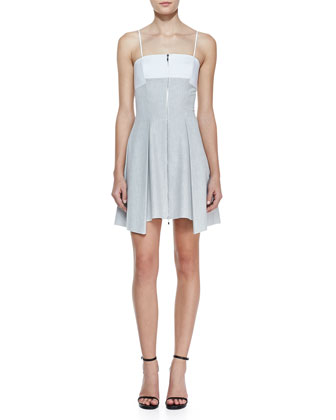 Bonded Pleated Front-Zip Dress