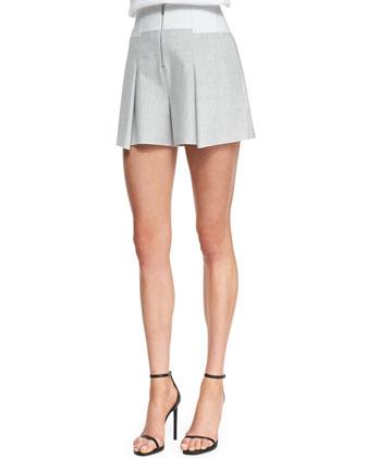 Pleated Bonded Tuxedo Shorts