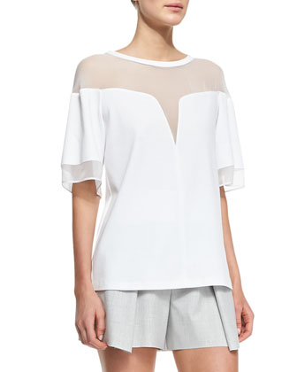 Deep-V Sheer-Yoke Box Tee