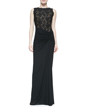 Sleeveless Lace-Bodice Gown with Draped Skirt, Black