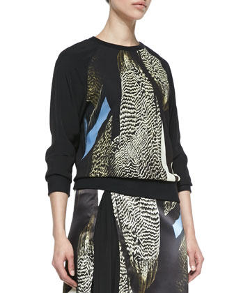 Reed Audubon Printed Sweatshirt and Asymmetric Skirt