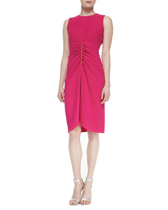 Sleeveless Ruched-Front Dress
