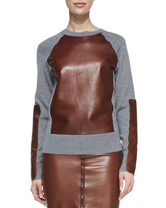 Long-Sleeve Leather-Block Sweatshirt and Zip-Front Leather Pencil Skirt