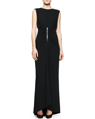 Sleeveless Ruched-Waist Gown