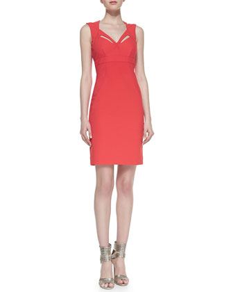 Sleeveless Cutout-Neck Sheath Cocktail Dress