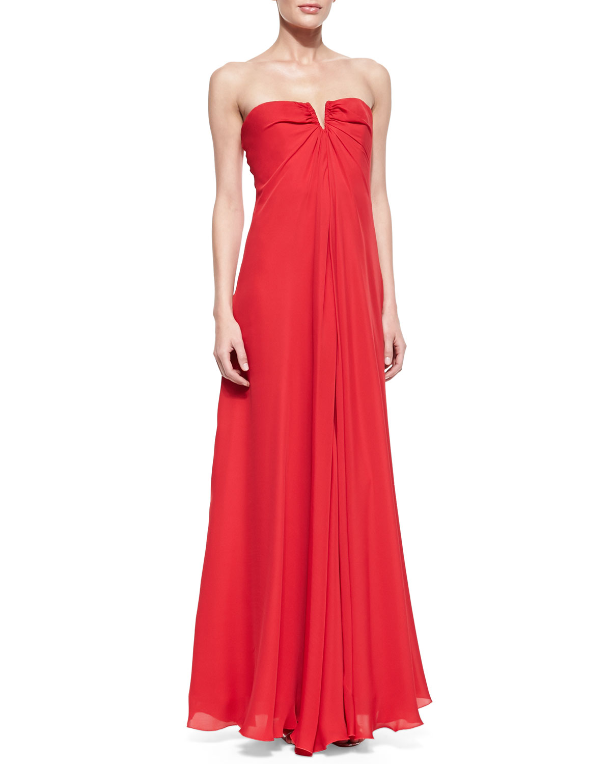 Womens Strapless Drape Front Gown   Nicole Miller   Brink pink (0)