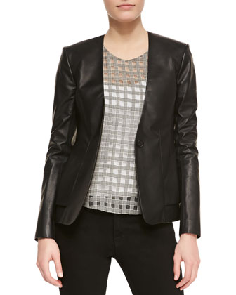 Easel V-Neck Leather Blazer