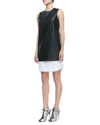Lambskin & Poplin Sleeveless Dress