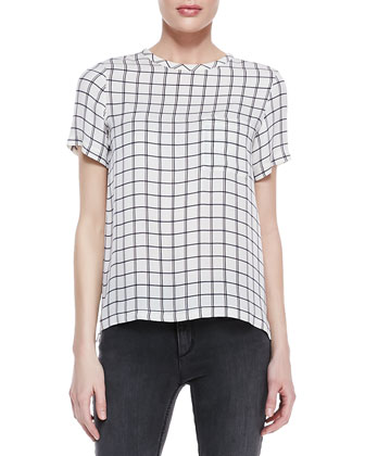 Broxlin Scribble Grid Silk Top