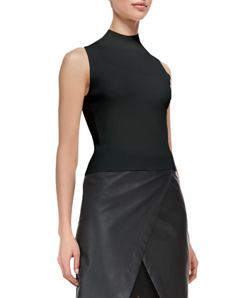 Prosecco Everleen Crop Top & Derion Easeful Notched Leather Skirt