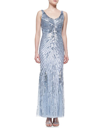 Beaded Gown with Sunburst Pattern, Light Blue