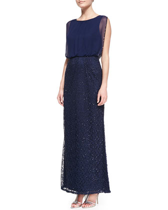 Sleeveless Sequin Blouson Gown, Twilight Blue