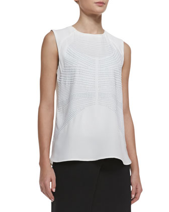 Ascher Studded Sleeveless Silk Top