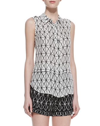 Ian Printed Sleeveless Silk Blouse