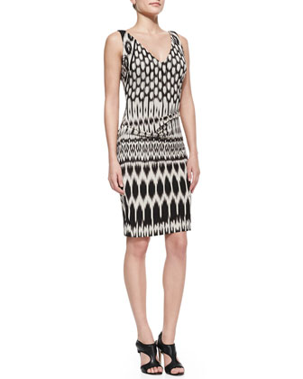 Sleeveless Patterned Sheath Dress